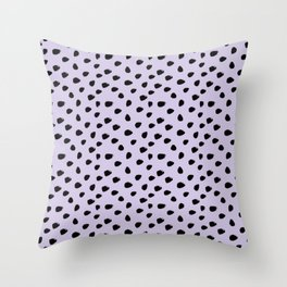Lilac and Black Seamless Pattern Paint Brush Strokes Throw Pillow