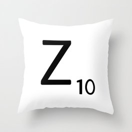 Letter Z - Custom Scrabble Letter Tile Art - Scrabble Z Initial Throw Pillow
