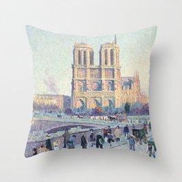 Maximilien Luce,  The Quai Saint-Michel and Notre-Dame Throw Pillow