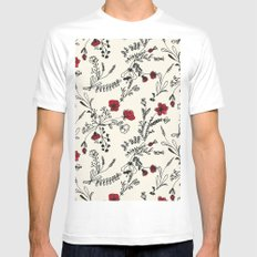 Red Flower Pattern MEDIUM White Mens Fitted Tee