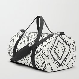 Beni Moroccan Print in Cream and Black Duffle Bag