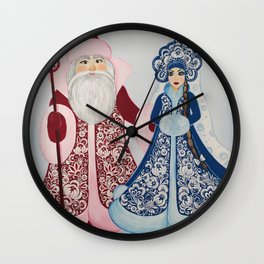 Father Frost and Snow Maiden in petrykivka style Wall Clock