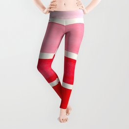 Red Minimalist Watercolor Mid Century Staggered Stripes Rothko Color Block Geometric Art Leggings