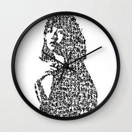 Kanji Calligraphy Art :woman's face #32 Wall Clock
