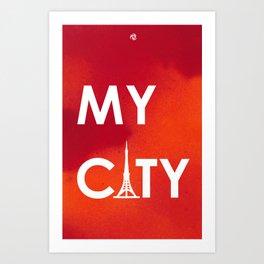 MyCity-Tokyo-RedOrangeA Art Print
