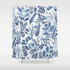 indigo scatter Shower Curtain