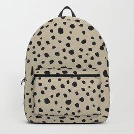 Spots Animal Print Beige Backpack