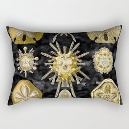 Golden sand dollar on Noir sea Rectangular Pillow
