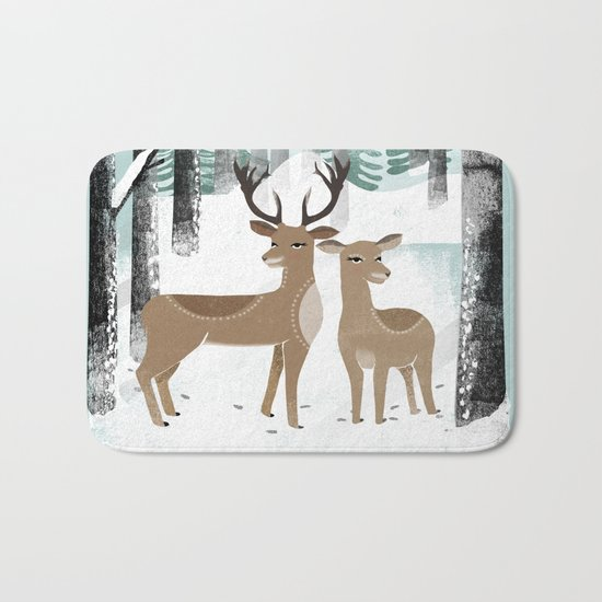 Winter Deer by Andrea Lauren  Bath Mat