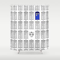 tardis Shower Curtains featuring Tardis by Megan Twisted
