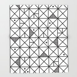 Monochrome Geometric 02 Throw Blanket