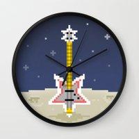 bass Wall Clocks featuring Space Bass by Dean Bottino