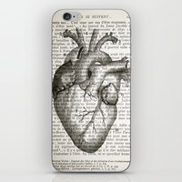 anatomical heart iPhone & iPod Skins featuring Anatomical Heart on French by CrowBiz
