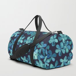 Hand Painted Floral Pattern in Teal & Navy Blue Duffle Bag