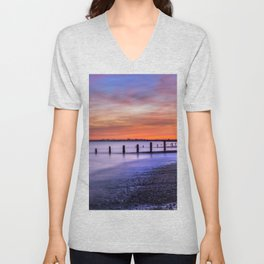 Sunset over Dymchurch Unisex V-Neck