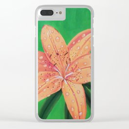 Water Drops on Tiger Lily Clear iPhone Case