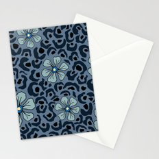 Blue animal print floral Stationery Cards