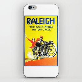 Raleigh Motorcycle, vintage poster iPhone Skin
