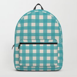 Buffalo Checked Plaid in Turquoise and Cream Backpack