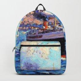 Granville Redmond - Steamer leaving Avalon, Catalina Island - Digital Remastered Edition Backpack