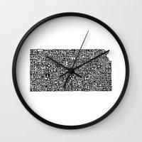 kansas Wall Clocks featuring Typographic Kansas by CAPow!