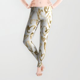 Gold Love Hearts Pattern on White Leggings