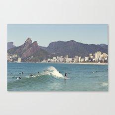 Surfing on Ipanema Beach Canvas Print