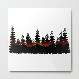 Pine Trees Double Exposure Sunset Metal Print