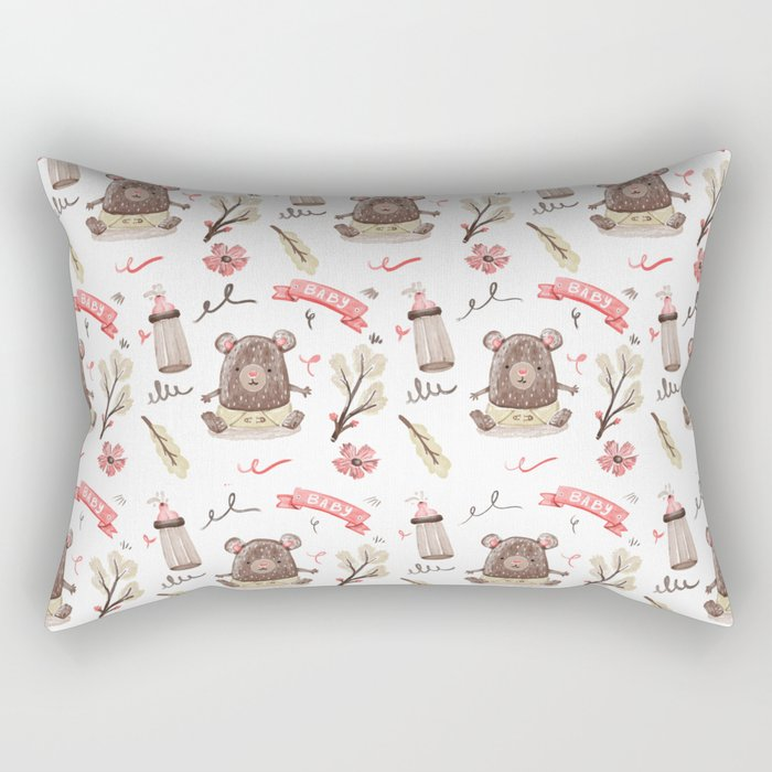Cute Baby Pattern Bear Design. Rectangular Pillow