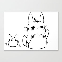 Chibi Totoros in Black and White Canvas Print