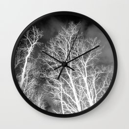 Black and whit naked trees forest, negative version Wall Clock