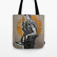 daryl Tote Bags featuring Daryl Dixon by Yan Ramirez