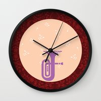 trumpet Wall Clocks featuring Trumpet by Design4u Studio