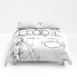 Drum Set Patent - Drummer Art - Black And White Comforters