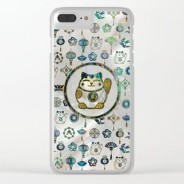Maneki Neko Lucky cat on  pearl and abalone Clear iPhone Case