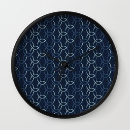 Indigo Blue Net Pattern Hand Drawn Interlocking Wall Clock