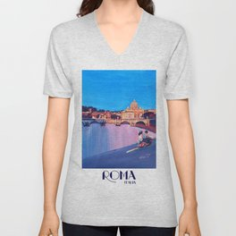 Rome Scene with Motorcycle and view of Vatican with Dome of St Peter Unisex V-Neck