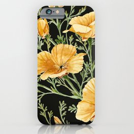 California Poppies on Charcoal Black iPhone Case