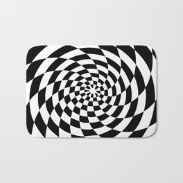 Optical Illusion Op Art Black and White Retro Style Bath Mat