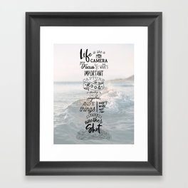 Life is Like a Camera Travel Photography Quote // Beach + Ocean Waves Background Framed Art Print