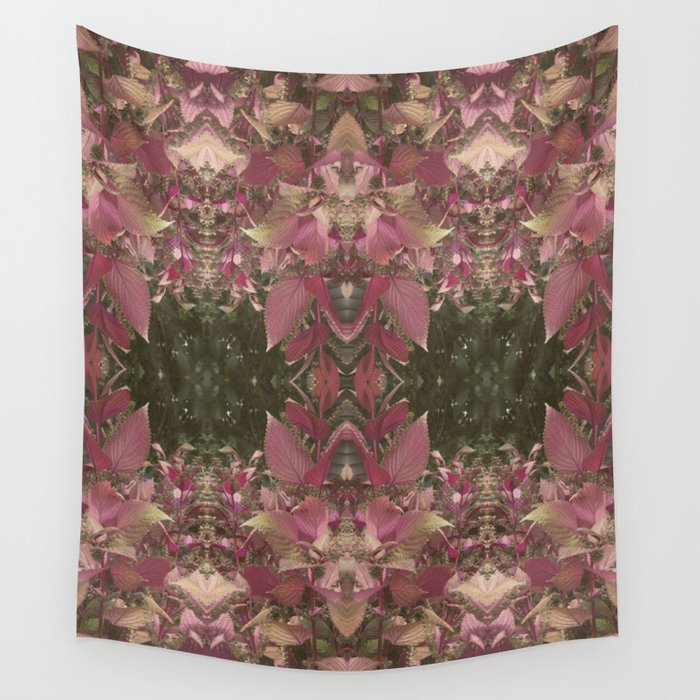 Red Shiso Warm Tones Pattern Wall Tapestry