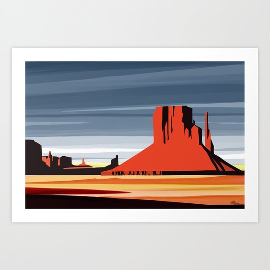 Monument Valley sunset magic realisim Art Print