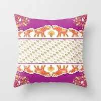 india Throw Pillows featuring India by ASerpico Designs