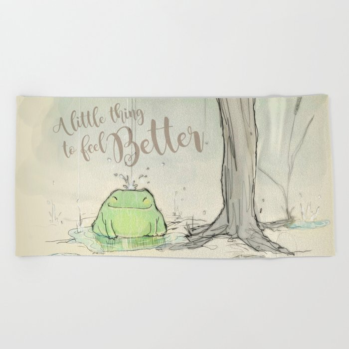 The frog under the rain 2 Beach Towel