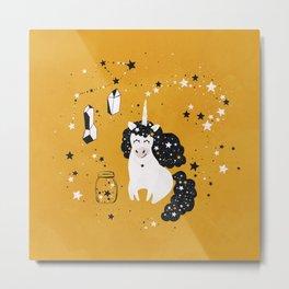 Stellar Unicorn with Stars in a Jar Metal Print