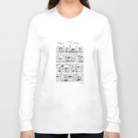 baloon Long Sleeve T-shirts featuring Cityscape from baloon flight by posterilla