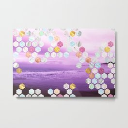 Gorgeous Purple Beachscape with marble, glitterl, gold and rose gold geometric tiles Metal Print