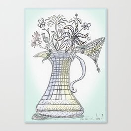 Pitcher with Flowering Plants Canvas Print