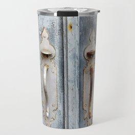 Antique blue door Travel Mug