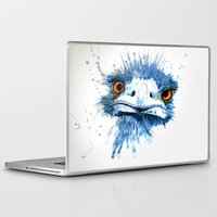 pee wee Laptop & iPad Skins featuring PEE PEE the Emu by Louise Sheehy